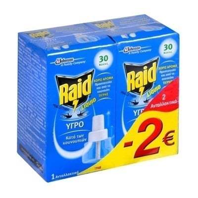 Raid Liquid Υγρό Ανταλλακτικό 30 Νύχτες για Εσωτερικούς Χώρους, 2 Ανταλλακτικά