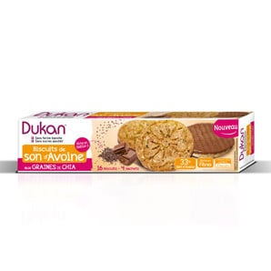 Dukan Expert Μπισκότα Βρώμης Dukan με Επικάλυψη Σοκολάτας & Σπόρους Chia, 160 gr