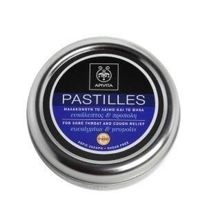 APIVITA Pastilles - Παστίλιες για τον πονεμένο Λαιμό, Με ευκάλυπτο & πρόπολη,45gr