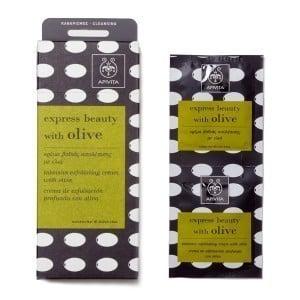 APIVITA Μάσκα Περιποίησης Express Beauty, Κρέμα βαθιάς απολέπισης για Καθαρισμό Προσώπου με ελιά, 2 φακελάκια των 8ml