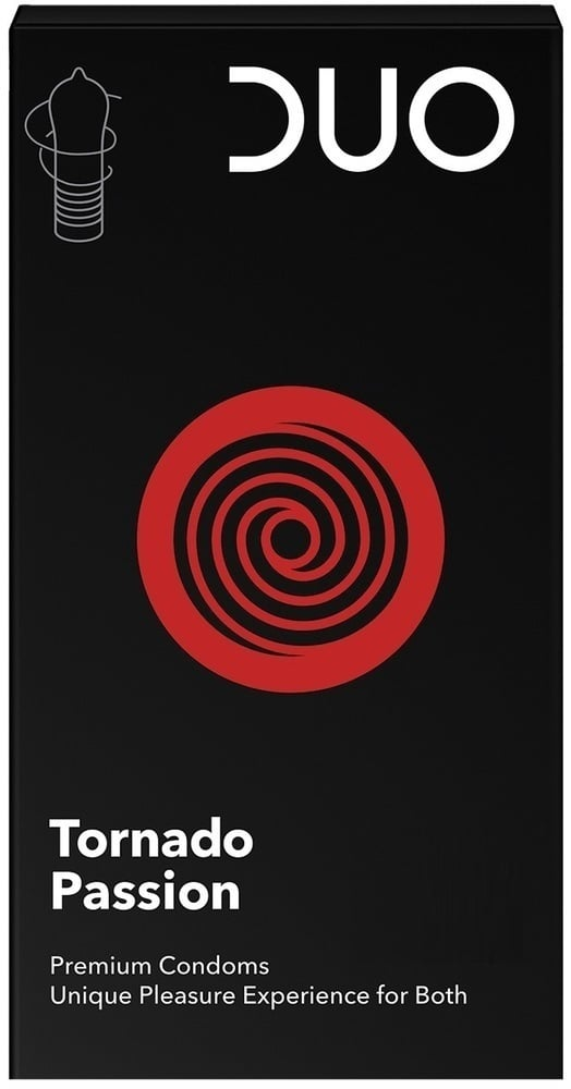 DUO Tornado Passion Προφυλακτικά με Σχήμα Εμπνευσμένο από τον Ανεμοστρόβιλο στην Κεφαλή & Ραβδώσεις στη Βάση, 6 τεμάχια