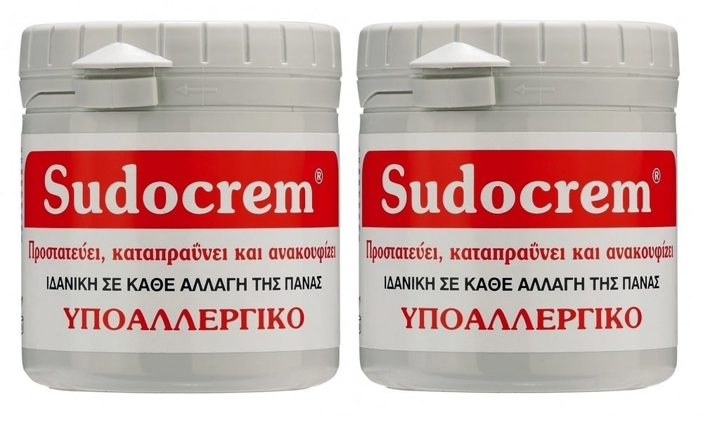 2 x Sudocrem Καταπραϋντική Κρέμα για την Αλλαγής της Πάνας με Αντιερεθιστικούς Παράγοντες, 2 x 125 gr