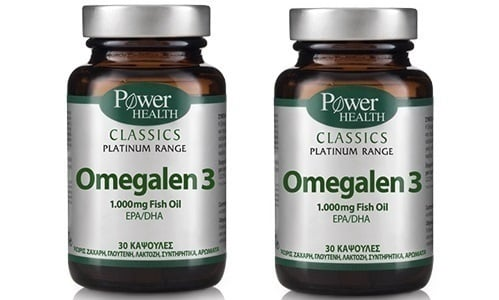 2 x Power Health CLASSICS Platinum Range, Omegalen 3 λιπαρά οξέα των 1.000mg, 2 x 30 κάψουλες