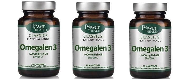 3 x Power Health CLASSICS Platinum Range, Omegalen 3 λιπαρά οξέα των 1.000mg, 3 x 30 κάψουλες