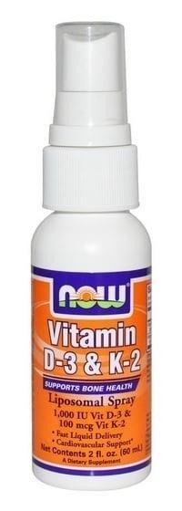 Now Vitamin D3 1000 IU & K2 100mcg Liposomal Spray Συμπλήρωμα Βιταμίνης D3 & K2 σε Στοματικό Σπρέι, 60 ml
