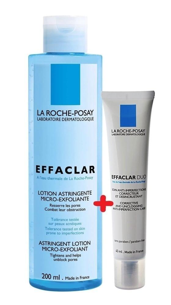 La Roche Posay Effaclar PACK with Effaclar Astringent Lotion Micro-Exfoliating, 200ml & Effaclar Duo [+] Corrective Unclogging Care, 40ml