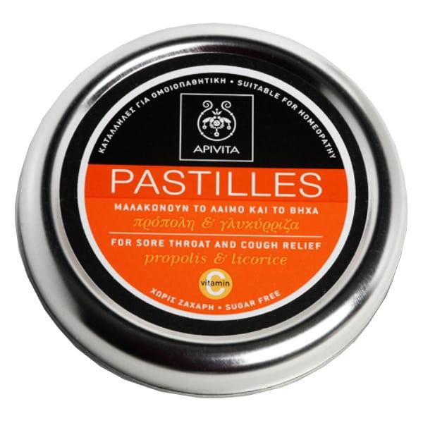 APIVITA Pastilles - Παστίλιες για τον πονεμένο Λαιμό, Με πρόπολη & γλυκύρριζα,45gr