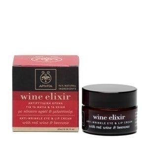 Apivita Wine Elixir Αντιρυτιδική Κρέμα για την περιοχή γύρω από τα Μάτια & τα Χείλη, 15ml