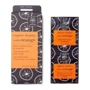 Apivita Express Beauty Μάσκα Περιποίησης & Αναζωογόνησης Προσώπου για Λάμψη με Πορτοκάλι, 2 τεμάχια των 8ml