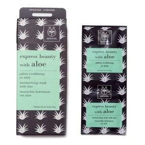 APIVITA Express Beauty Μάσκα Περιποίησης, Μάσκα ενυδάτωσης Προσώπου με Αλόη, 2 φακελάκια των 8ml