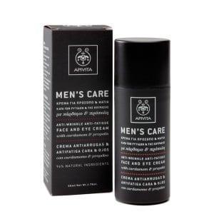 APIVITA MEN'S CARE Κρέμα κατά των Ρυτίδων & της Κούρασης για το Πρόσωπο & τα Μάτια, Με Κάρδαμο & Πρόπολη,50ml.