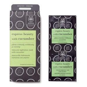 Apivita Cucumber Face Mask Express Beauty Μάσκα Περιποίησης & Εντατικής Ενυδάτωσης προσώπου με αγγούρι, 2 x 8ml