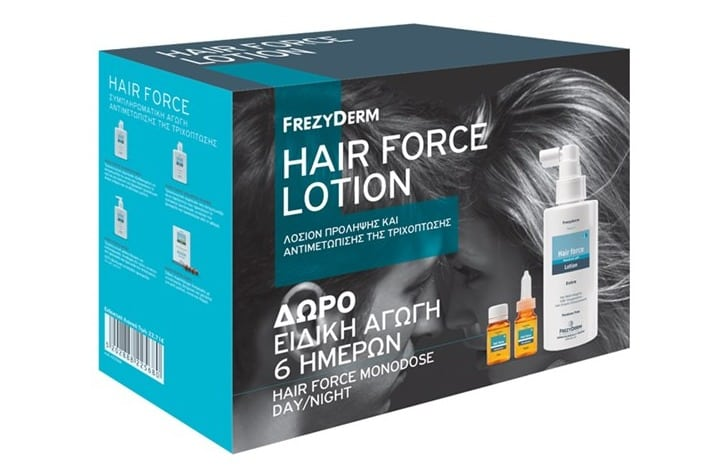 Frezyderm Hair Force Lotion 100ml ΜΕ ΔΩΡΟ Ειδική Αγωγή 6 Ημερών Hair Force Monodose Day 3 x 10ml &Hair Force Monodos Night, 3 x 10ml