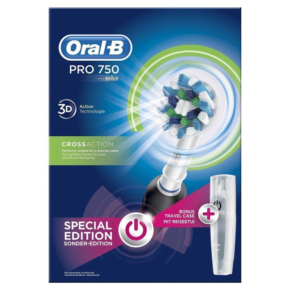 OralB Pro 750 Cross Action 3D Black Special Edition Ηλεκτρική Οδοντόβουρτσα