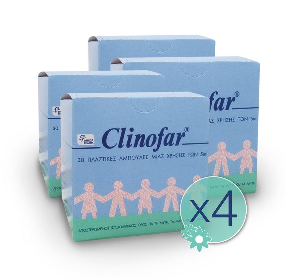 4 x Clinofar Φυσιολογικός Ορός Αμπούλες 4 x 30 amps των 5ml