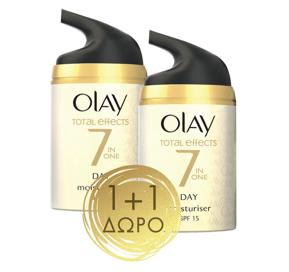 Olay Total Effects 7 Moisturizer SPF15 Αντιγηραντική Κρέμα Προσώπου (1+1 ΔΩΡΟ), 2 x 50ml