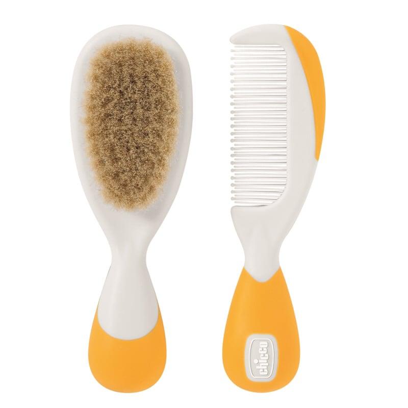Chicco Brush & Comb 0m+, Χρώμα Πορτοκαλί, 2 τεμάχια