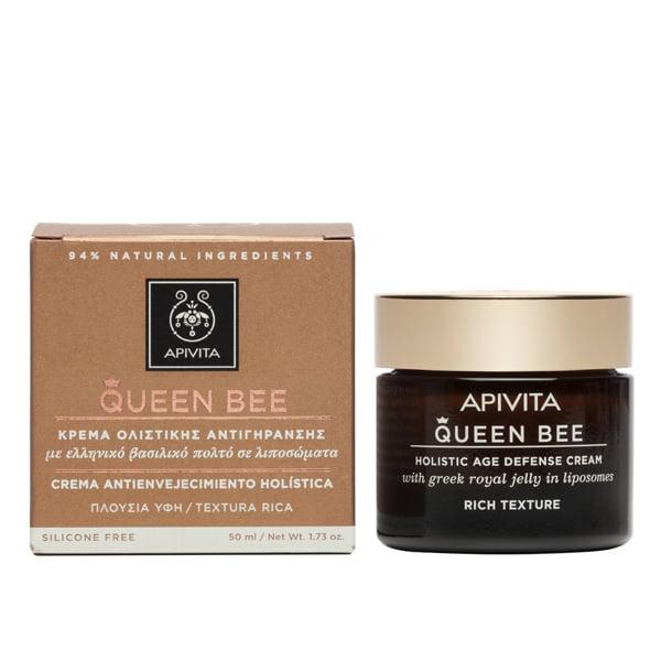 Apivita Queen Bee Kρέμα Lifting Ημέρας Ολιστικής Αντιγήρανσης Πλούσιας Υφής με Ελληνικό Βασιλικό Πολτό σε Λιποσώματα, 50ml