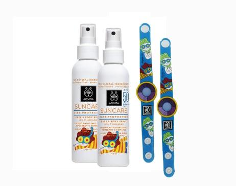 2 x Apivita Suncare Kids Protection Face & Body Spray SPF50 Παιδικό Αντηλιακό Προσώπου & Σώματος, με αλόη & καλέντουλα, 2 x 150ml & ΔΩΡΟ 2 Φωτοευαίσθητα Βραχιόλια