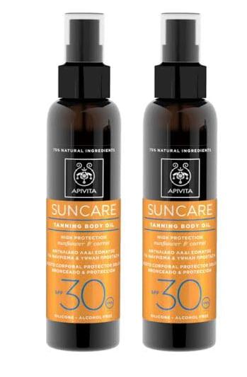2 x Apivita Suncare Tanning Body Oil SPF30 Αντιηλιακό Λάδι Σώματος για μαύρισμα με Καρότο & Ηλίανθο, 2 x 150ml