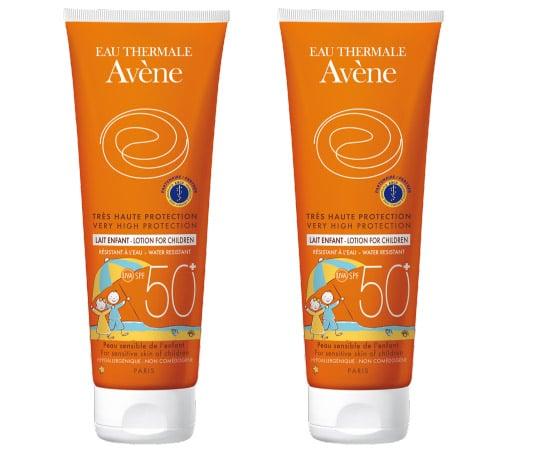 2 x Avene Eau Thermale Lait Enfant SPF50+ Παιδικό Αντιηλιακό Γαλάκτωμα για Πολύ υψηλή αντηλιακή προστασία του ευαίσθητου δέρματος του παιδιού, 2 x 250ml
