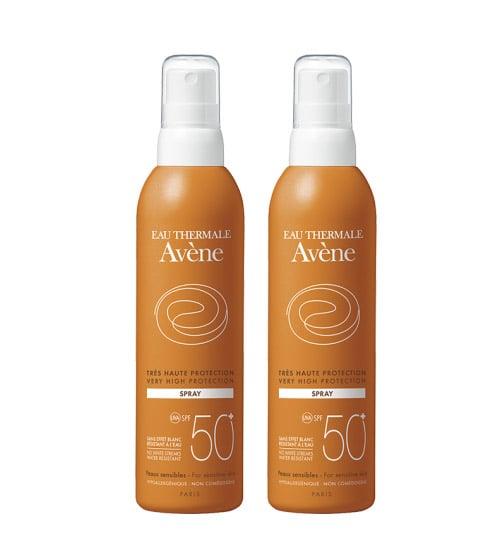 2 x Avene Eau Thermale Spray SPF50+ Αντιηλιακό Σπρέϊ για πολύ υψηλή προστασία του ευαίσθητου δέρματος, 2 x 200ml