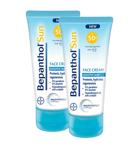 2 x Bepanthol Sun SPF50+ Αντιηλιακή Κρέμα Προσώπου για το ευαίσθητο δέρμα, 2 x 50ml