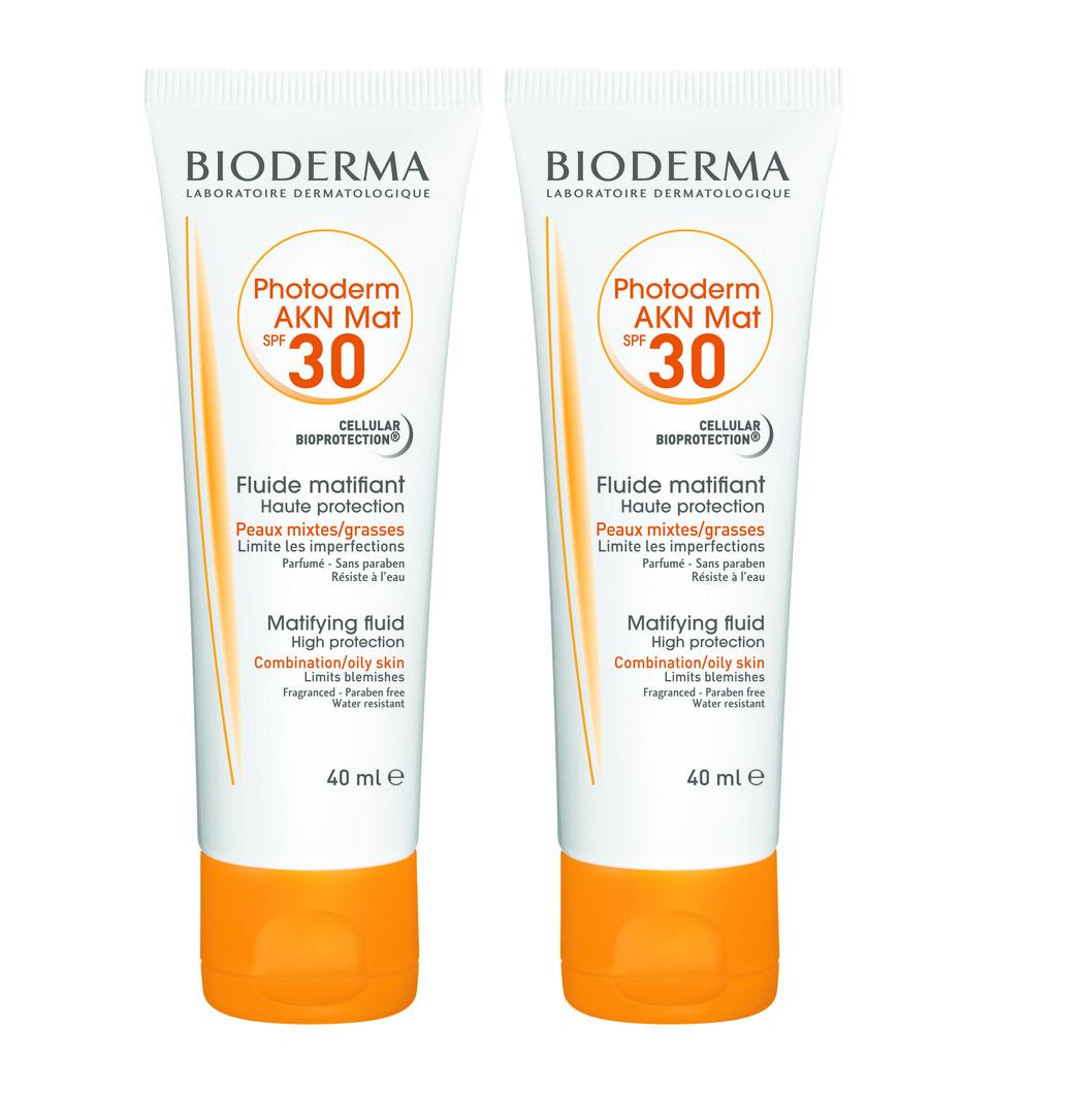 2 x Bioderma Photoderm Akn Mat Fluide Spf30 Αντηλιακή Κρέμα Προσώπου για το Λιπαρό / με Τάση Ακμής Δέρμα, 2 x 40ml