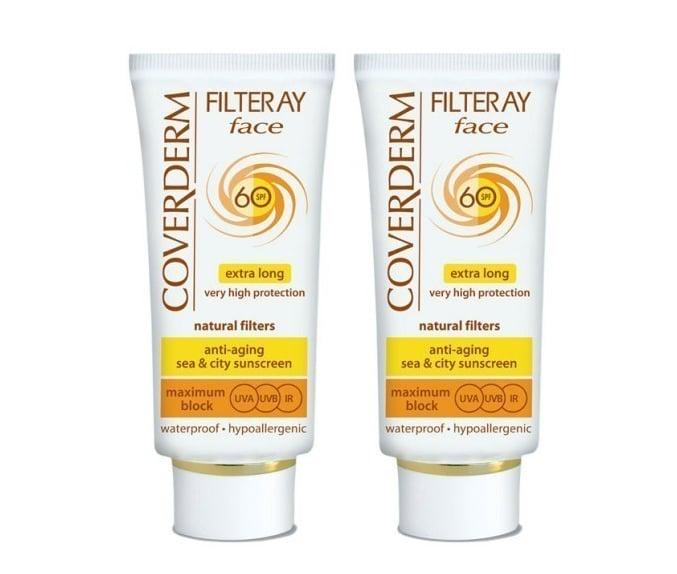 2 x Coverderm Filteray Face SPF60 Αντηλιακή Κρέμα Προσώπου, για όλους τύπους δέρματος, 2 x 50ml