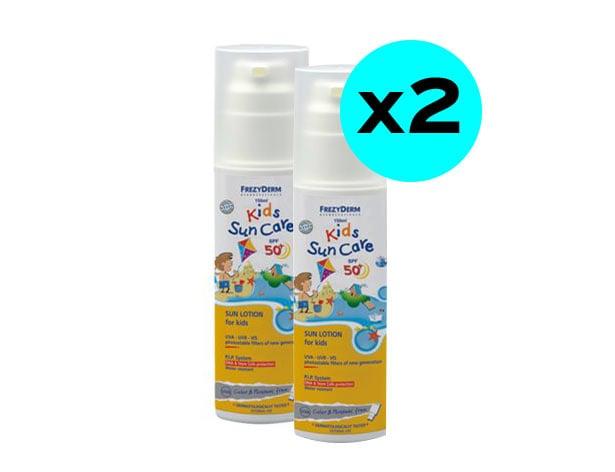 2 x Frezyderm Kids Suncare SPF50+ Παιδικό Αντιηλιακό Γαλάκτωμα προσώπου & σώματος, ανθεκτικό στο νερό, 2 x 150ml