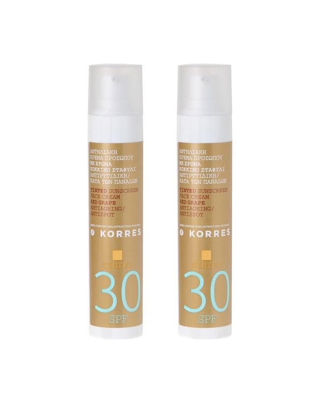 2 x Korres Tinted Sunscreen Face Cream SPF30 Αντιρυτιδική Αντηλιακή Κρέμα Προσώπου Κόκκινο Σταφύλι με Χρώμα, 2 x 50ml