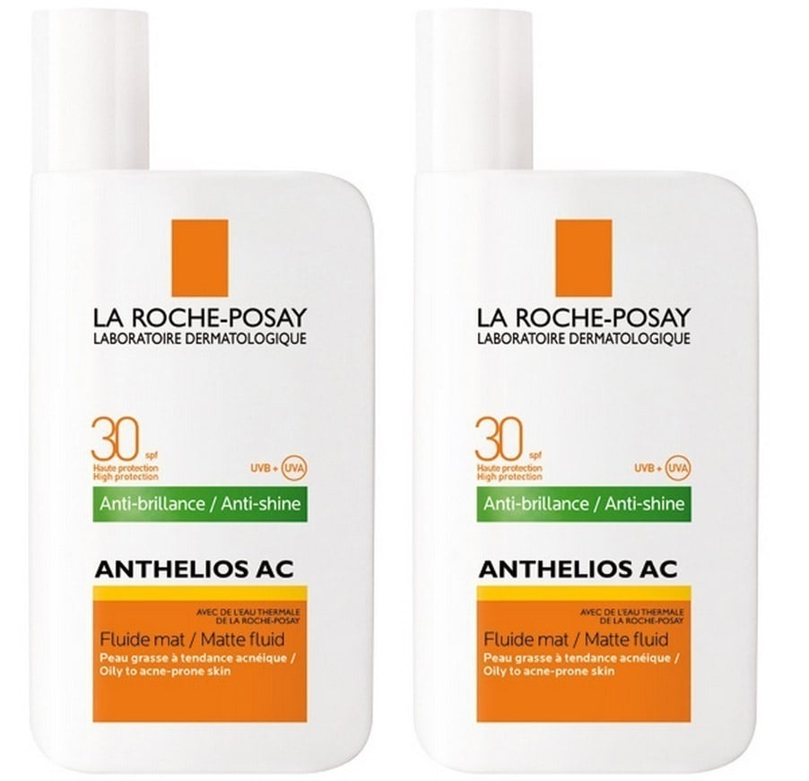 2 x La Roche Posay Anthelios AC Fluide Mat Anti-Brillance SPF30 Αντηλιακό γαλάκτωμα προσώπου, 2 x 50ml