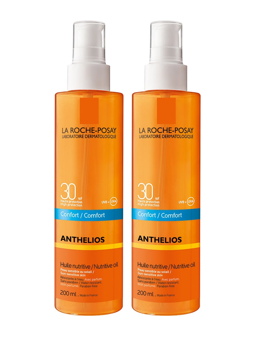 2 x La Roche Posay Anthelios Comfort XL Nutritive Huile SPF30 Αντιηλιακό Αόρατο Θρεπτικό Λάδι για Πρόσωπο & Σώμα, 2 x 200ml