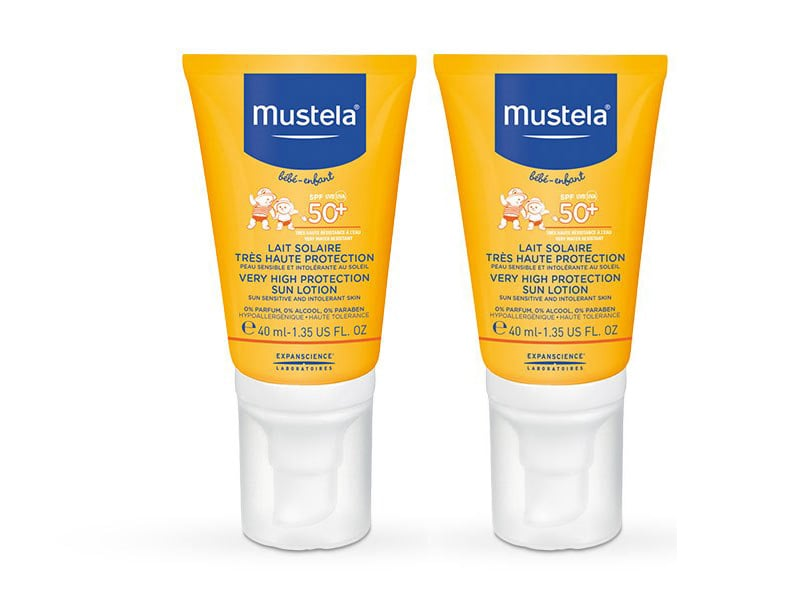 2 x Mustela Face Sun Lotion SPF50+ Very High Protection Βρεφικό Σπρέυ Αντιηλιακής Προστασίας για το Πρόσωπο, 2 x 40ml