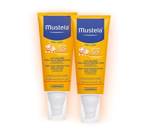 2 x Mustela Very High Protection Sun Lotion SPF50+ Αντηλιακό πολύ υψηλής προστασίας για το πρόσωπο και το σώμα SPF 50+, 2 x 200ml