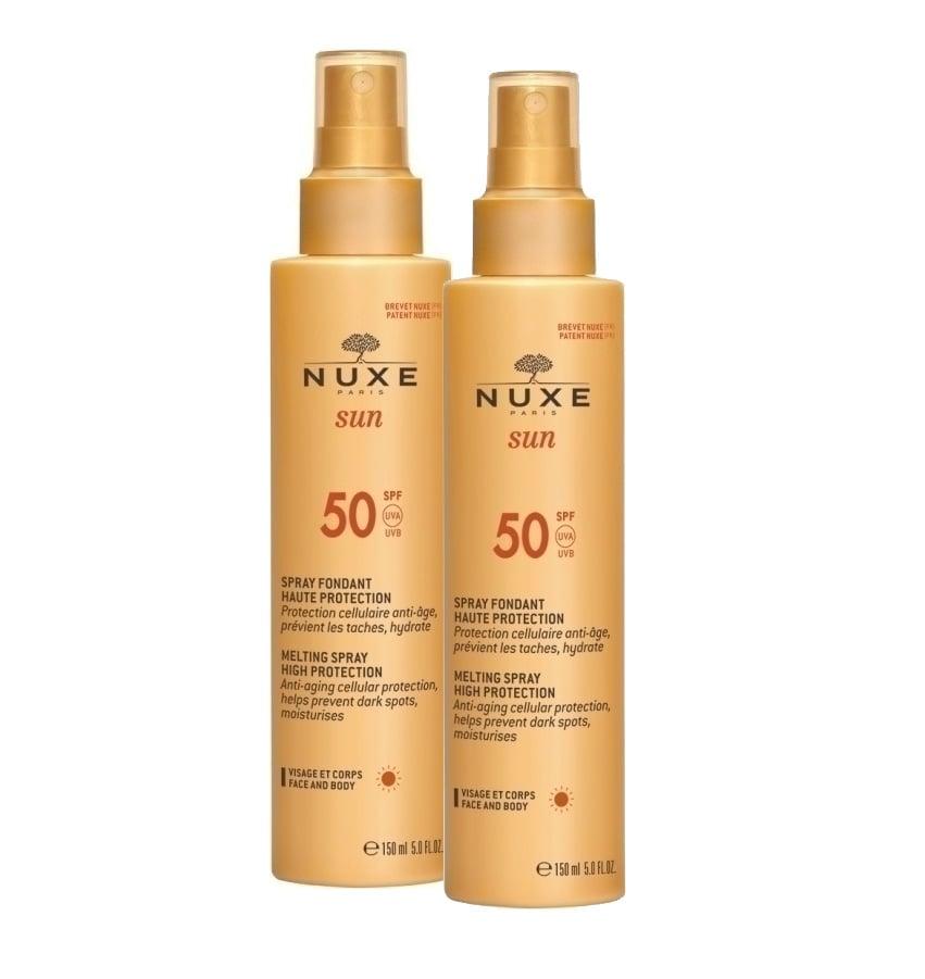 2 x Nuxe Sun Milky Spray SPF50 Αντηλιακό Γαλάκτωμα για πρόσωπο & σώμα, 2 x 150ml