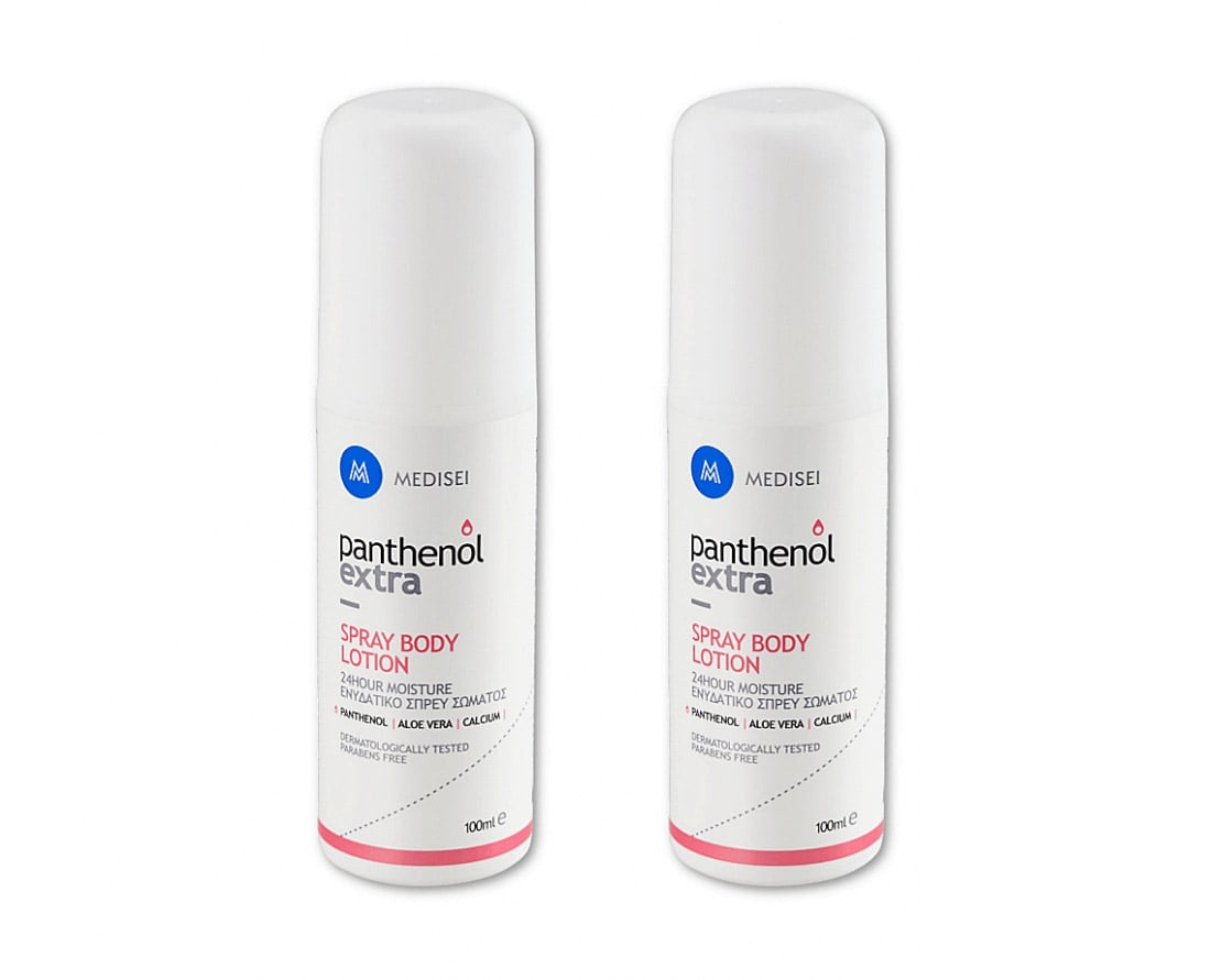 2 x Panthenol Extra Spray Body Lotion 24h Ενυδατικό Spray Σώματος, 2 x 100ml
