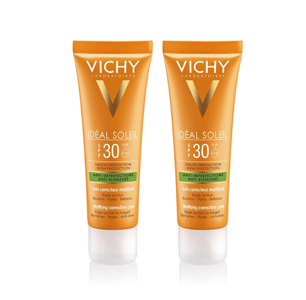 2 x Vichy Ideal Soleil SPF30 Αντιηλιακή Κρέμα με Στοχευμένη Δράση κατά των Ατελειών & της Γυαλάδας, 2 x 50ml