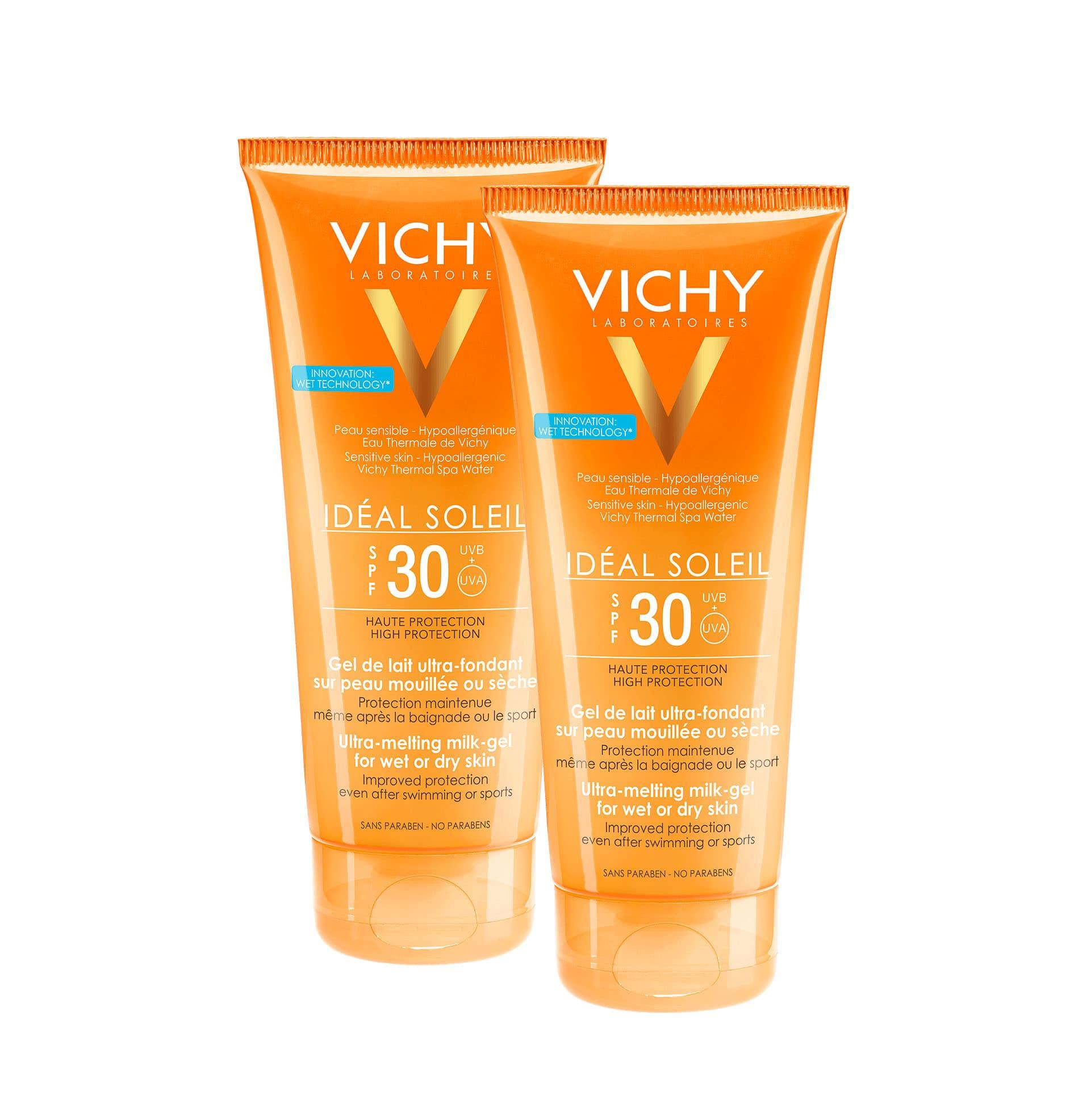 2 x Vichy Ideal Soleil SPF30 Έξτρα Απαλό Αντηλιακό Γαλάκτωμα - Gel για την Προστασία της Νωπής ή Στεγνής Επιδερμίδας, για Προσώπο & Σώμα, 2 x 200ml