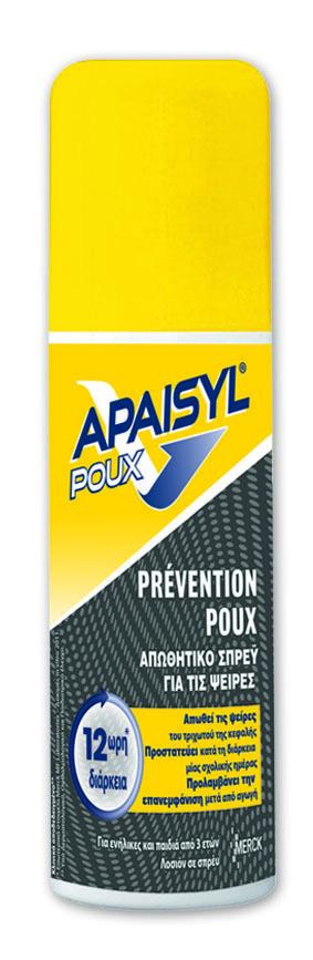 Merck Apaisyl Poux Prevention Spray, Διατηρεί τις ψείρες μακριά, Αποδεδειγμένη δράση & προστασία για 12 ώρες, Προλαμβάνει την επανεμφάνιση μετά από θεραπεία, 90 ml