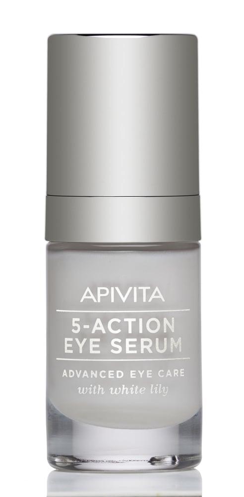Apivita 5 Action Eye Serum Καινοτόμος Ορός Ματιών Εντατικής Ενυδάτωσης & Αντιγήρανσης με Λευκό Κρίνο, 15ml