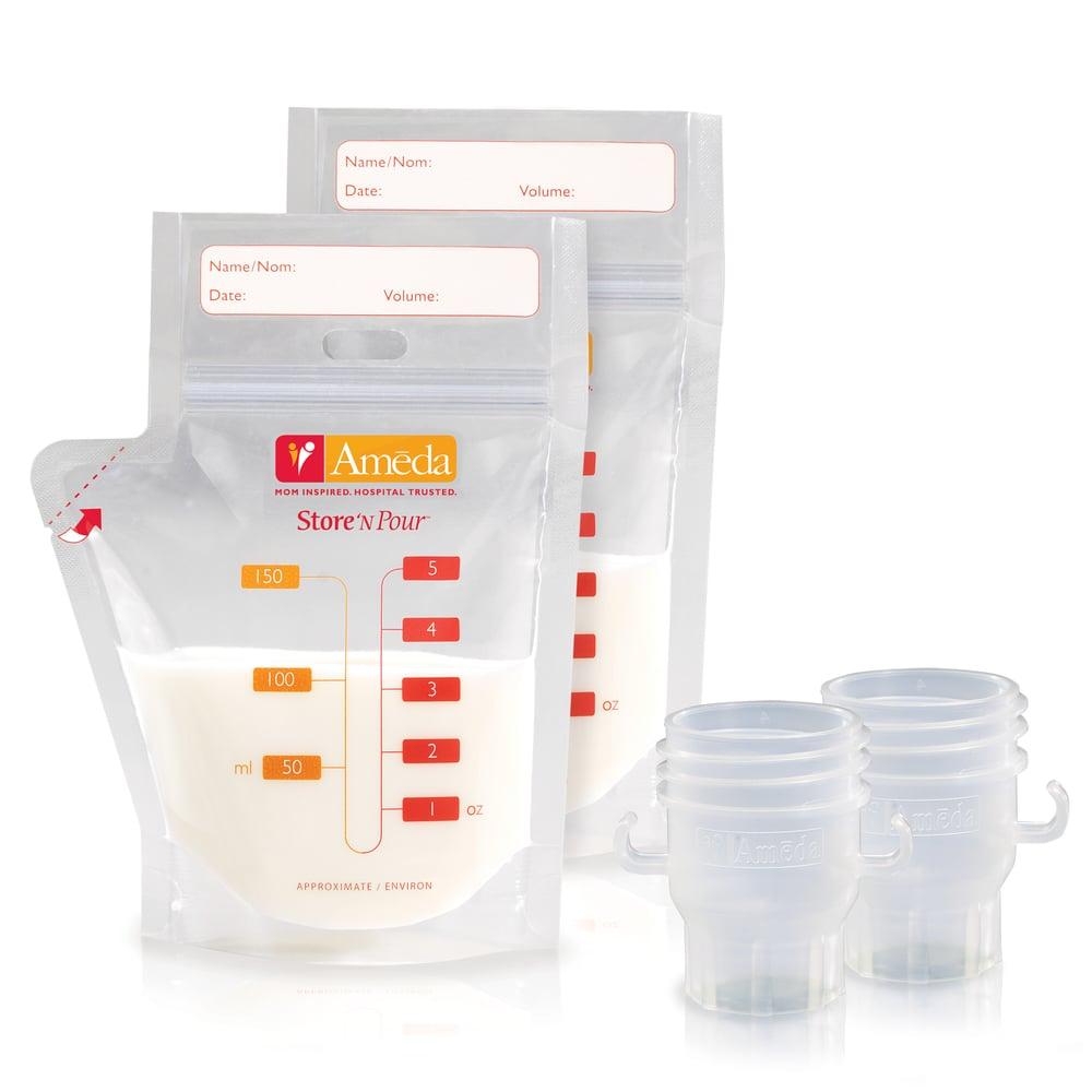 Ameda Store 'N Pour Breast Milk Bags Σακουλάκια Φύλαξης Μητρικού Γάλακτος, 20 τεμάχια & 2 συνδετικά κεφαλής