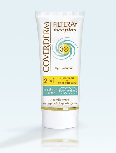 Coverderm Filteray Face Plus SPF30 Oily/Acneic Tinted Αντηλιακή Κρέμα Προσώπου & After Sun (2σε1) για Λιπαρές/Ακνεϊκές Επιδερμίδες, Απόχρωση Light Beige, Για 3 τύπους ηλιακής ακτινοβολίας, UVA, UVB και IR,  50ml