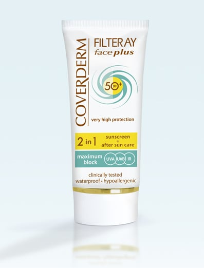 Coverderm Filteray Face Plus SPF50 Tinted Normal Αντηλιακή Κρέμα Προσώπου & After Sun (2σε1) για Κανονικές Επιδερμίδες, Απόχρωση Soft Brown, Για 3 τύπους ηλιακής ακτινοβολίας, UVA, UVB και IR,  50ml
