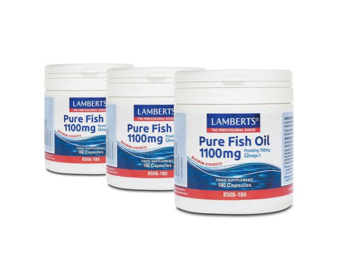 3x LAMBERTS PURE FISH OIL 1100MG (EPA), Ωμέγα 3, 3x 180 caps