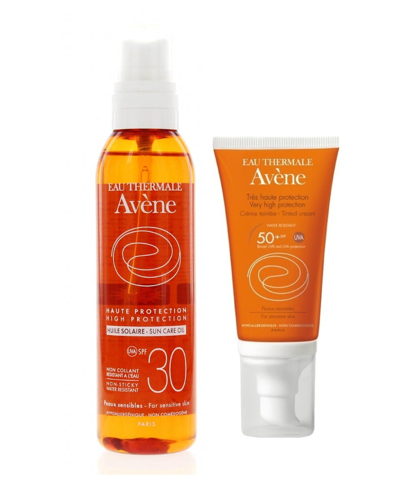 Avene Eau Thermale Huile Solaire Sun Care Oil SPF30 Αντηλιακό Λάδι για Πρόσωπο & Σώμα, 200 ml ΜΑΖΙ με Avene Eau Thermale Very High Protection Creme Teintee, Αντιηλιακή κρέμα προσώπου με χρώμα SPF 50+, 50 ml