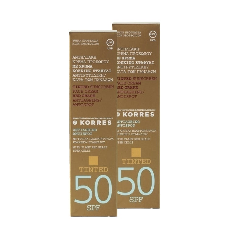 Korres Red Grape SPF50 Tinted Sunscreen Face Cream, 2 x 50ml