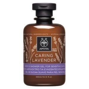 Apivita Caring Lavender Gentle Shower Gel for Sensitive Skin / Hypoallergenic with Lavender & Olive Oil, 300ml