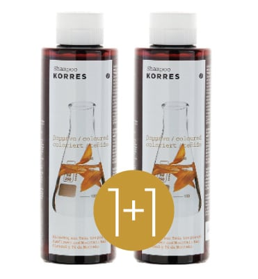 Korres Sunflower & Mountain Tea Shampoo (1+1 FREE), 2 x 250ml