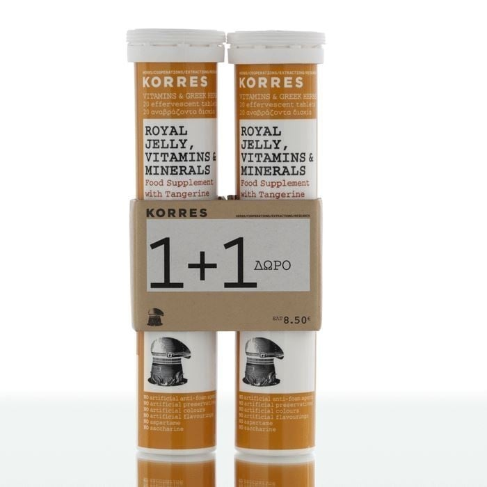 2 x Korres Royal Jelly Vitamins & Minerals (1+1 ΔΩΡΟ) Συμπλήρωμα Διατροφής με Βασιλικό Πολτό, με Γεύση Μανταρίνι, 2 x 20 αναβράζοντα δισκία